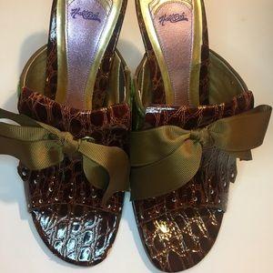 Hale Bob Brown Leather Plaid Heels- Used